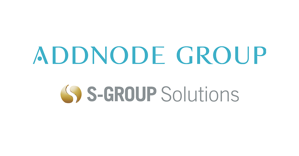 Logotyper Addnode Group och S-Group Solutions