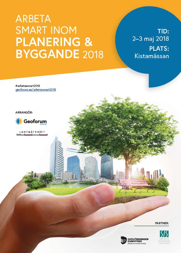 Framsida av programblad för Arbeta smart inom planering & byggande 2018